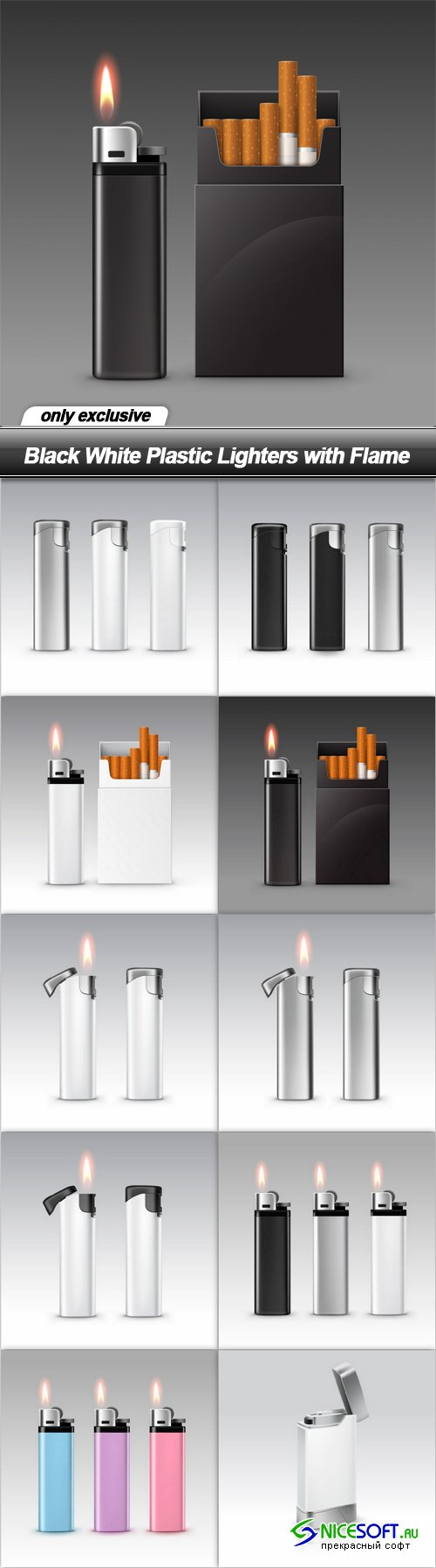 Black White Plastic Lighters with Flame