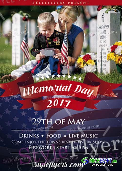 Memorial Day V18 Flyer PSD Template