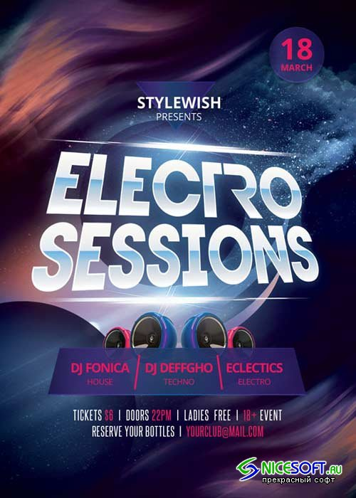 Electro Sessions V21 Flyer PSD Template