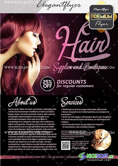Hair Supplies and Boutiques V25 Flyer PSD Template + Facebook Cove