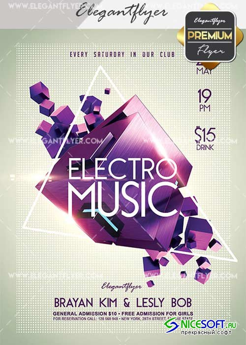 Electro Music V22 Flyer PSD Template + Facebook Cover