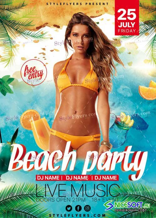 Beach Party V7 PSD Flyer Template