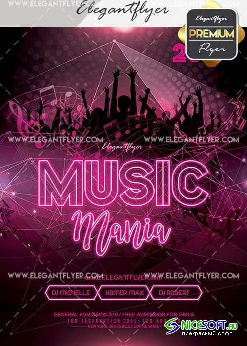 Music Mania V12 Flyer PSD Template + Facebook Cover