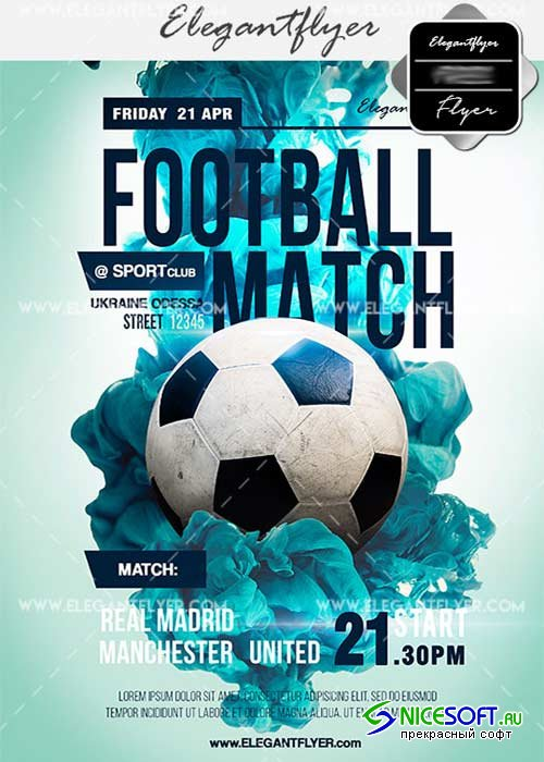 Football Match V17 Flyer PSD Template + Facebook Cover