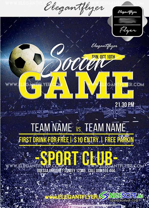 Soccer Game V14 Flyer PSD Template + Facebook Cover