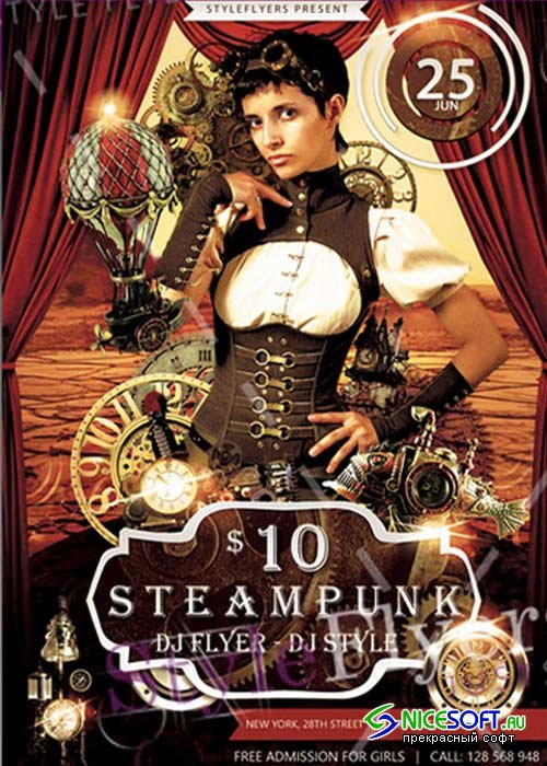 Steampunk Flyer V2 Psd Template