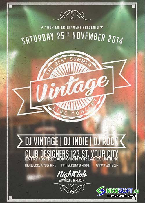 Vintage Music V18 Flyer Template