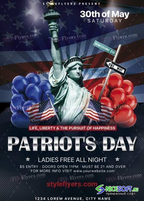 Patriot's Day PSD V20 Flyer Template