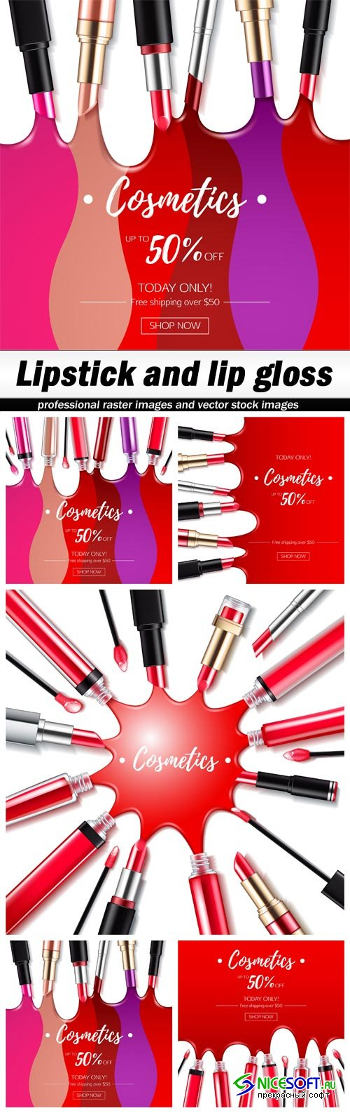 Lipstick and lip gloss - 5 EPS