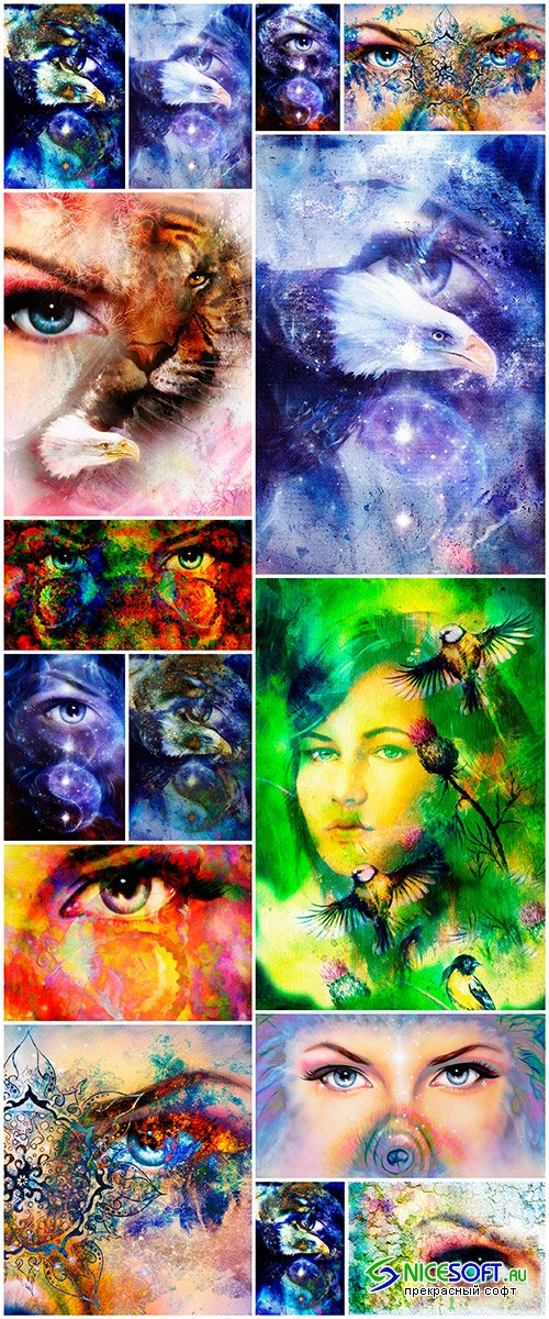 Woman eye painting collage_set 1 - 15UHQ JPEG