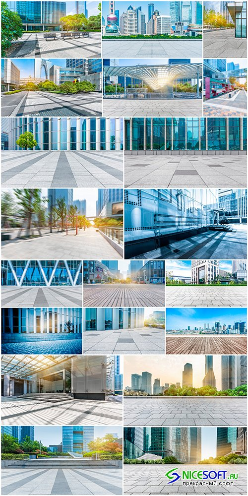 Empty pavement & modern buildings_set 1 - 20UHQ JPEG
