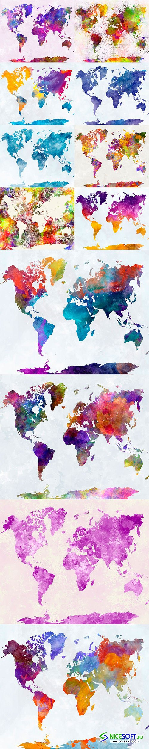 World map in watercolor - 12UHQ JPEG