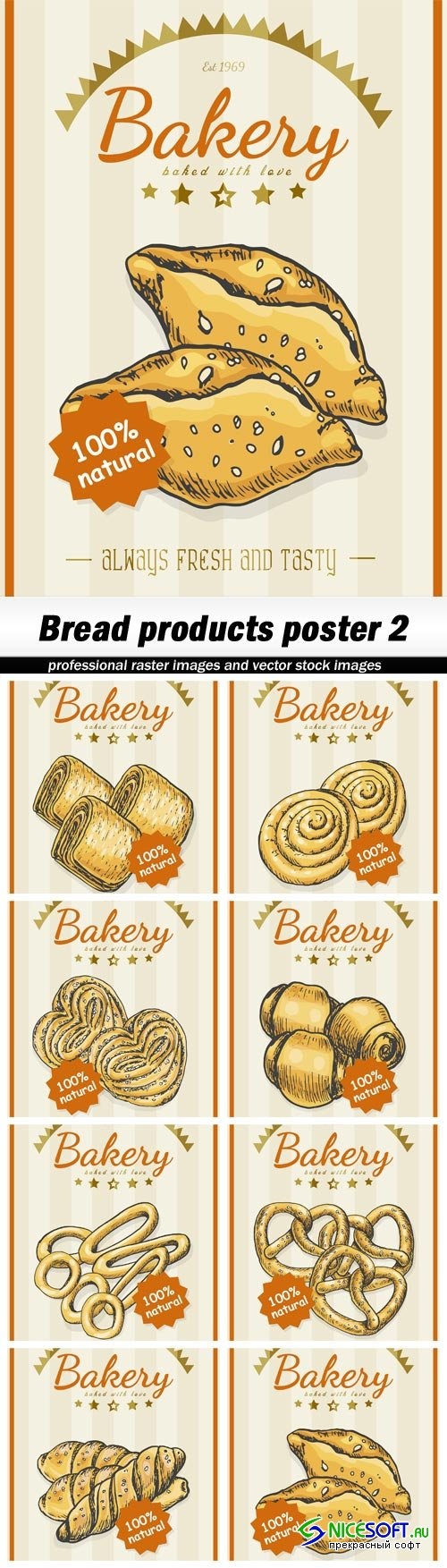 Bread products poster 2 - 8 EPS