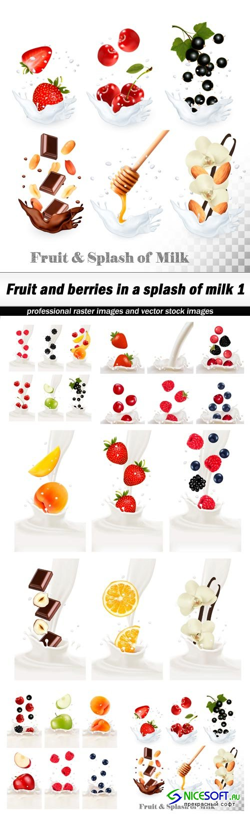 Fruit and berries in a splash of milk 1 - 5 EPS