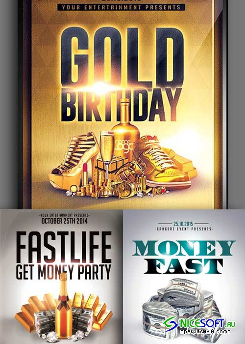 Gold Party 3in1 V2 Flyer Template