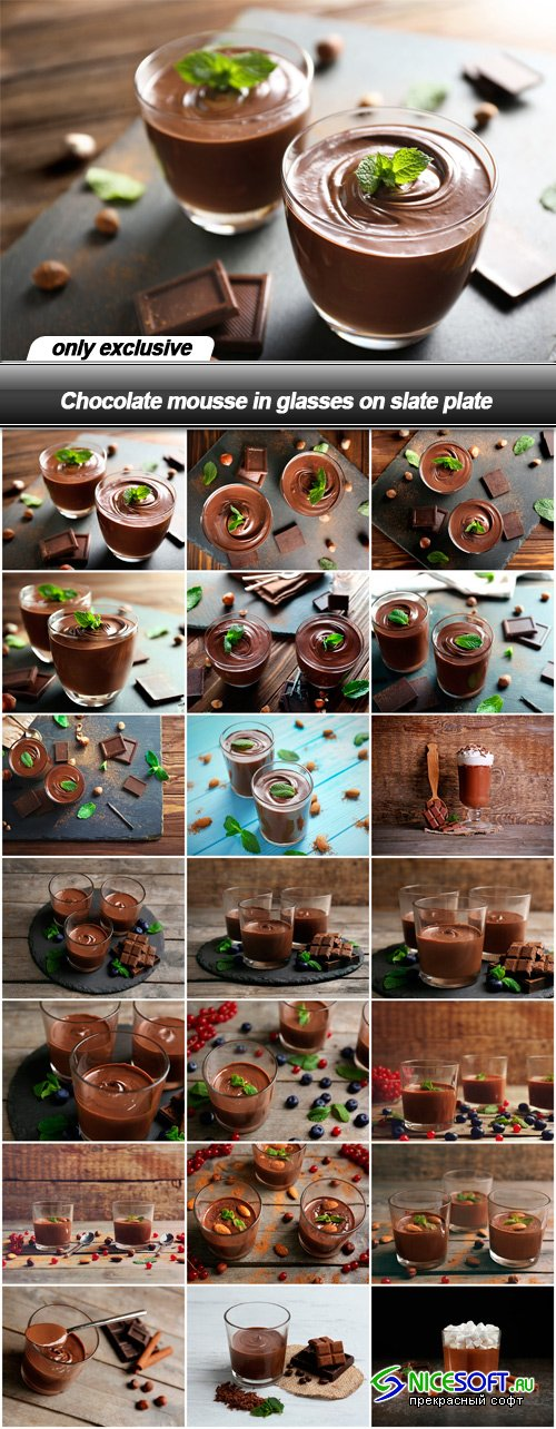 Chocolate mousse in glasses on slate plate