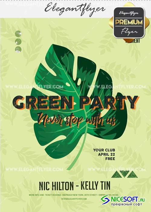 Green Party V25 Flyer PSD Template + Facebook Cover