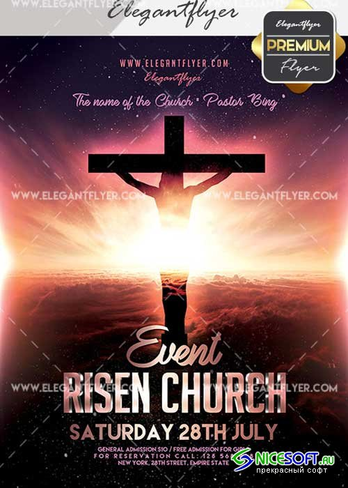 Risen Church Event V23 Flyer PSD Template + Facebook Cover