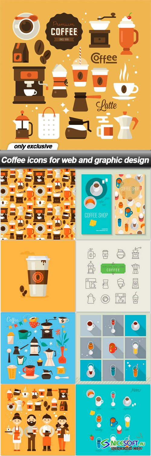 Coffee icons for web and graphic design