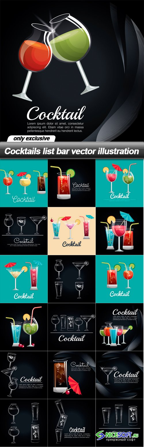 Cocktails list bar vector illustration