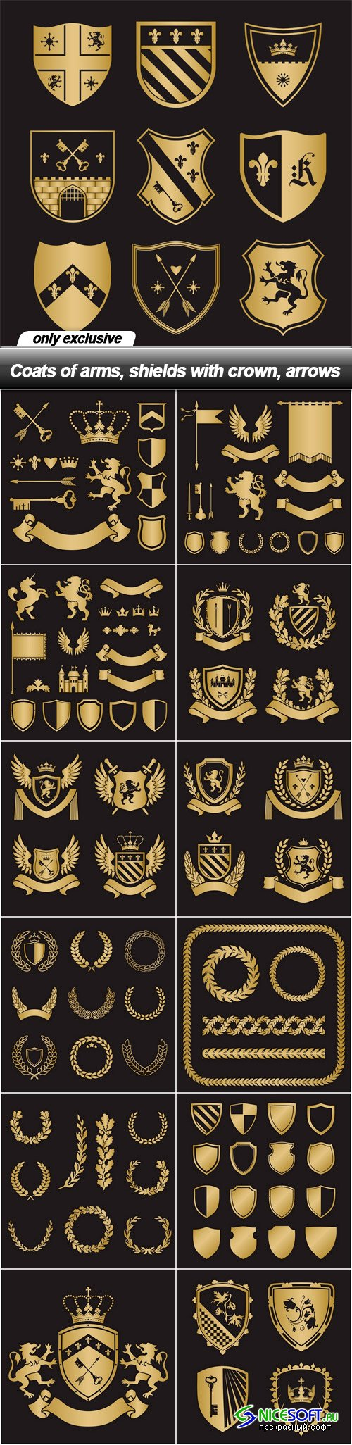 Coats of arms, shields with crown, arrows
