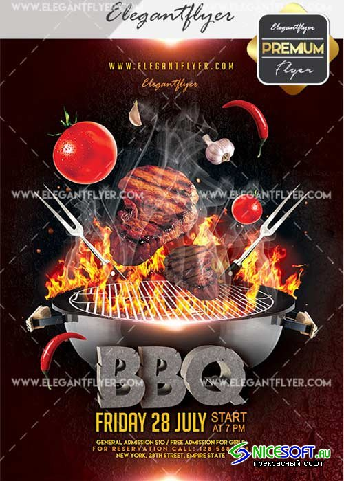BBQ V39 Flyer PSD Template + Facebook Cover
