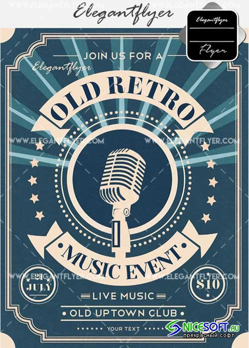 Old Retro Music Event V11 Flyer PSD Template + Facebook Cover