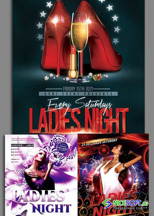 Ladies Night Flyer 3in1 V3 Flyer Template