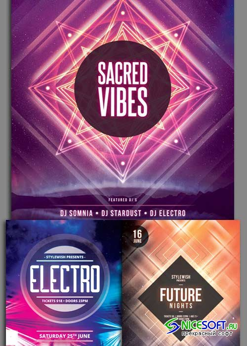 Minimal Party 3in1 V6 Flyer Template