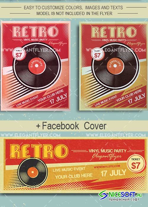 Retro Vinyl Music V2 Flyer PSD Template + Facebook Cover