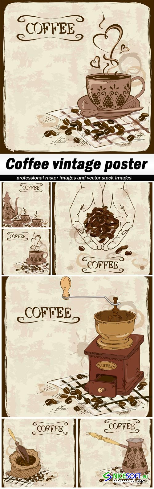 Coffee vintage poster - 6 EPS