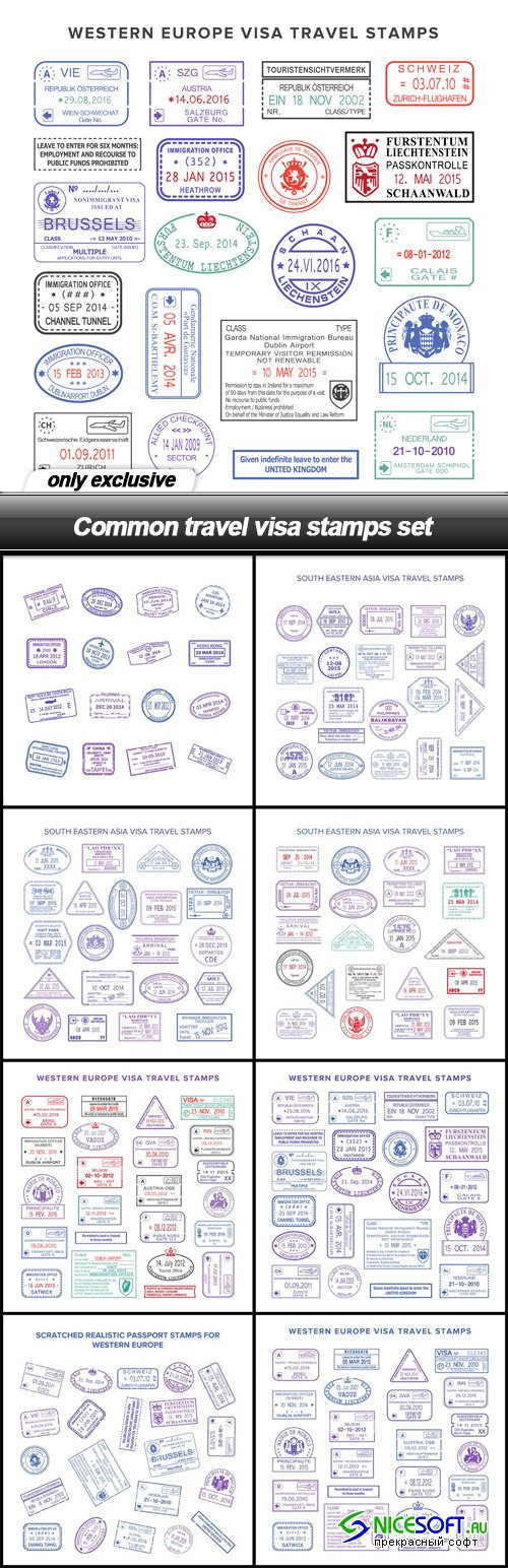 Common travel visa stamps set