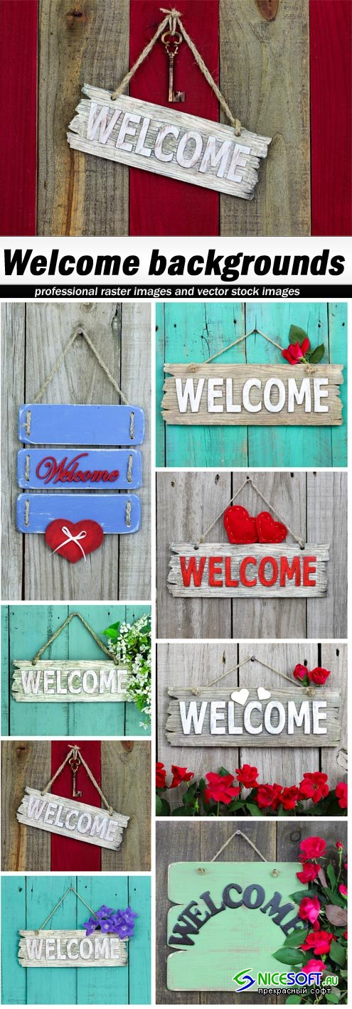 Welcome backgrounds - 8 UHQ JPEG