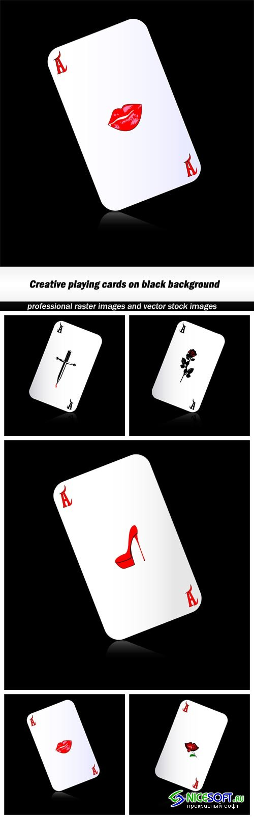 Creative playing cards on black background - 5 EPS