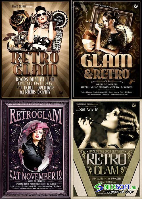 Retro Glamur Party 4in1 V1 Flyer Template