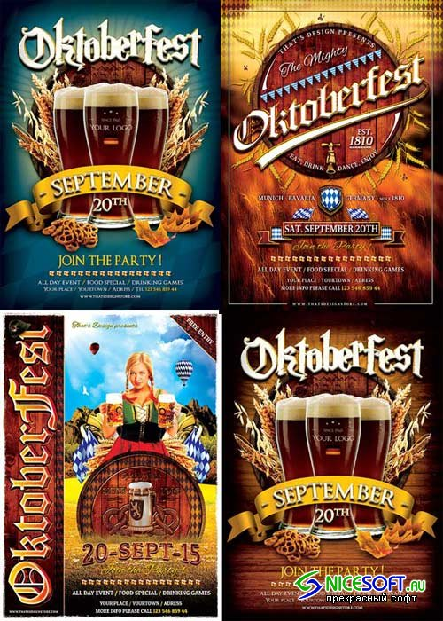 Oktoberfest Party 3in1 V1 Flyer Template