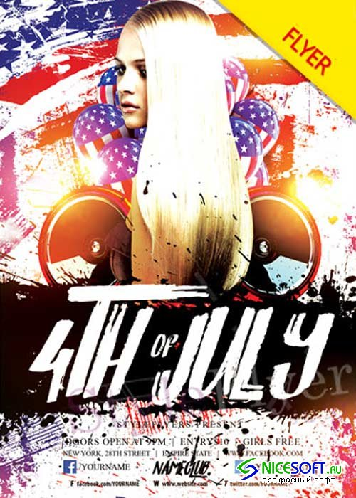 4th of July V29 Flyer PSD Template