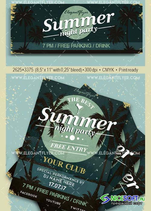 Summer Night Party V32 Flyer PSD Template + Facebook Cover