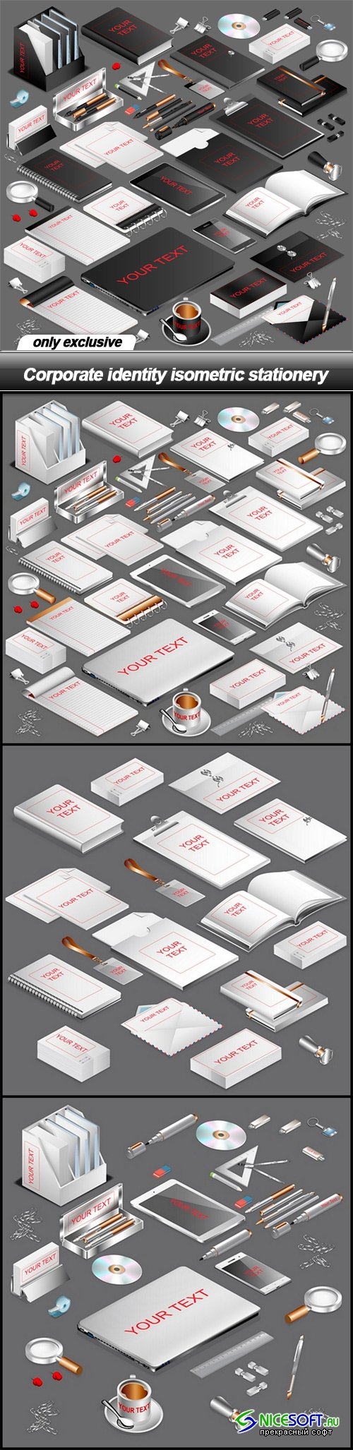 Corporate identity isometric stationery