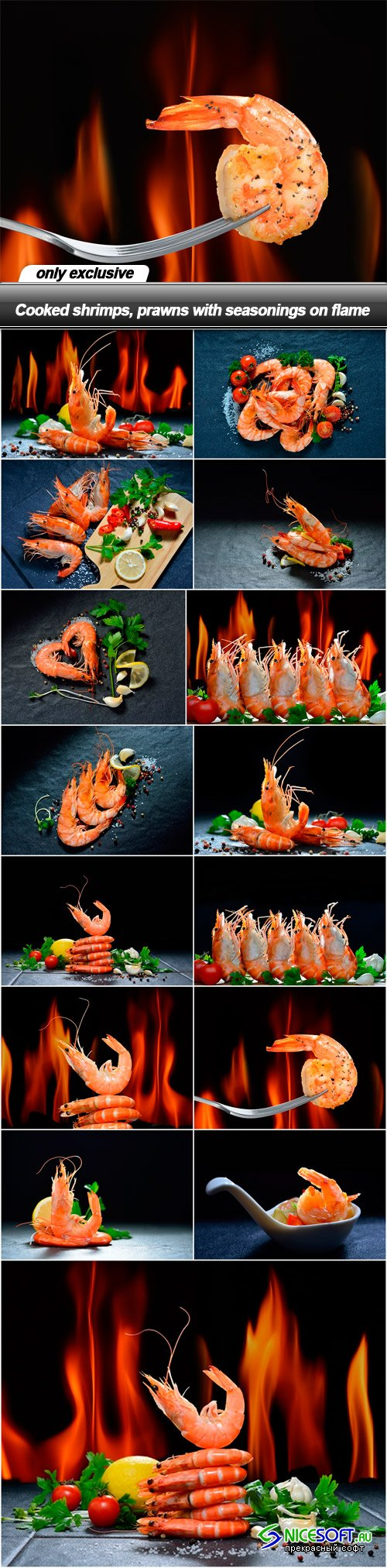 Cooked shrimps, prawns with seasonings on flame