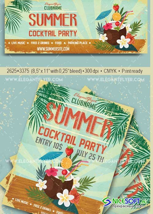 Cocktail Party V29 Flyer PSD Template + Facebook Cover