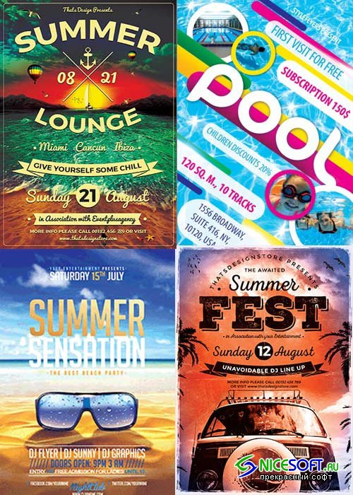 Time Summer 4in1 V4 Flyer Template