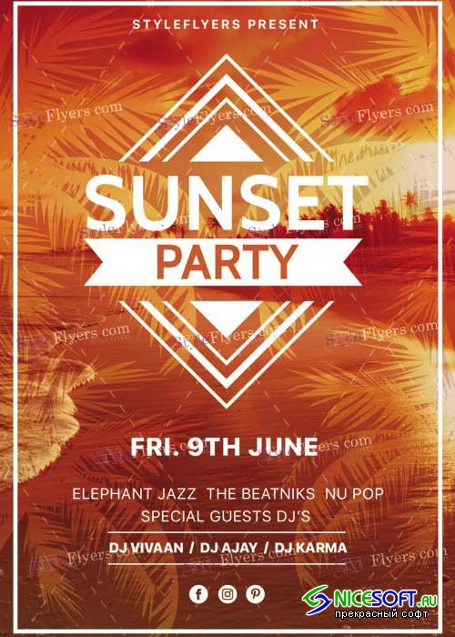 Sunset Party V20 PSD Flyer Template