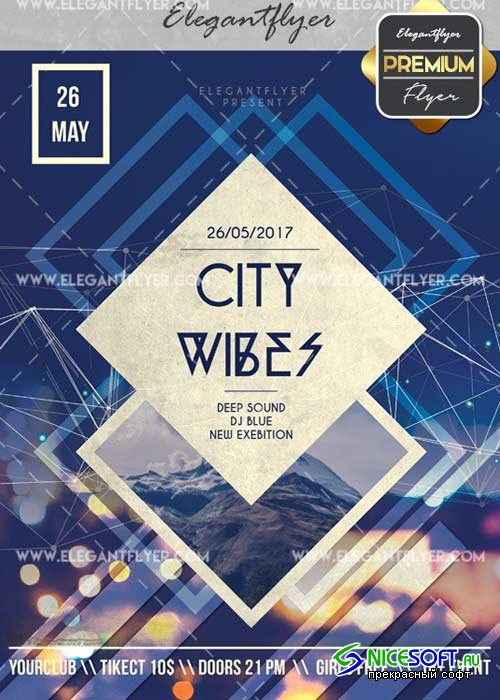 City Wibes V2 Flyer PSD Template + Facebook Cover