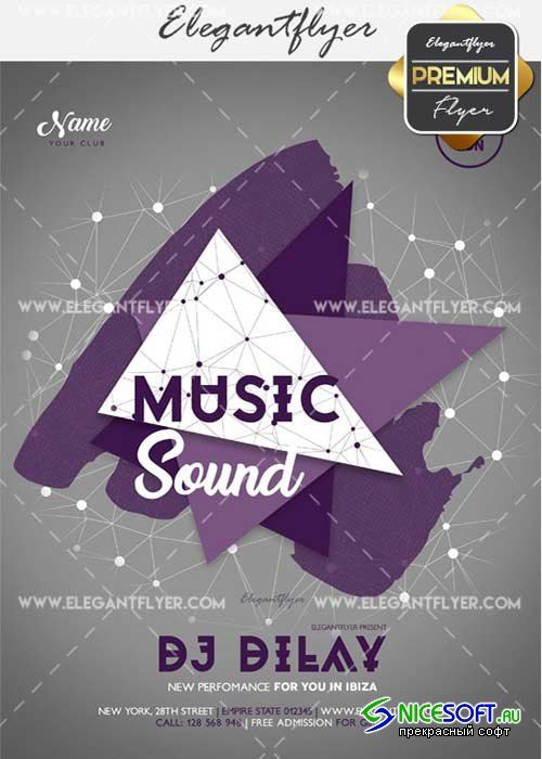 Music Sound V24 Flyer PSD Template + Facebook Cover