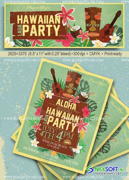 Laua Party V1 Flyer PSD Template + Facebook Cover