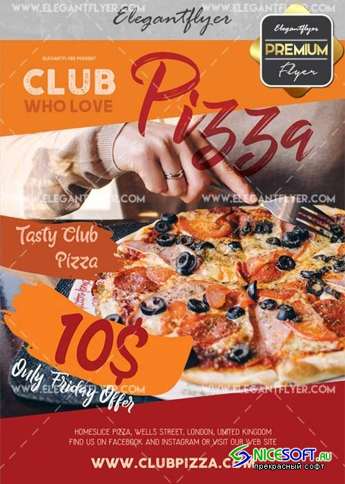 Club Pizza V25 Flyer PSD Template + Facebook Cover