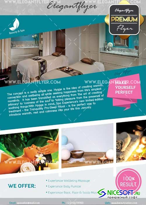 Beauty and Spa V20 Flyer PSD Template + Facebook Cover