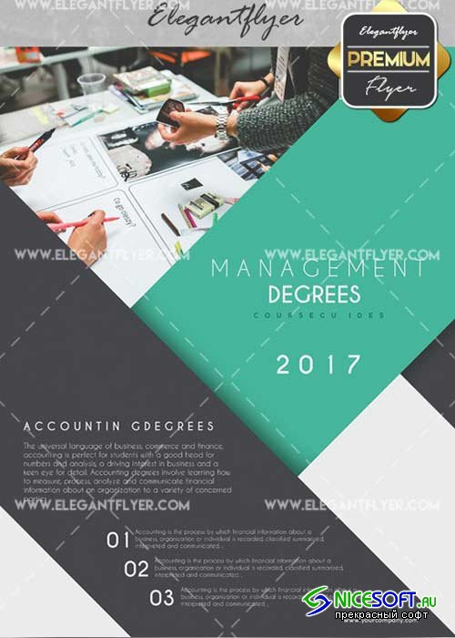 Management Degrees V15 Flyer PSD Template + Facebook Cover