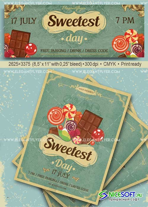 Sweetest Day V20 Flyer PSD Template + Facebook Cover
